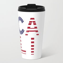 CALI American Flag Califronia Typography Travel Mug