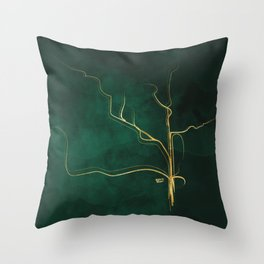Kintsugi Emerald #green #gold #kintsugi #japan #marble #watercolor #abstract Throw Pillow