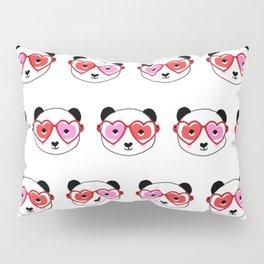 Valentines Day Panda - love panda, panda glasses, cute nerdy panda, heart, hearts, sweet panda Pillow Sham