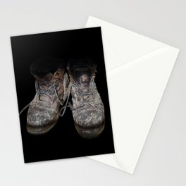 old shoes on black Stationery Cards