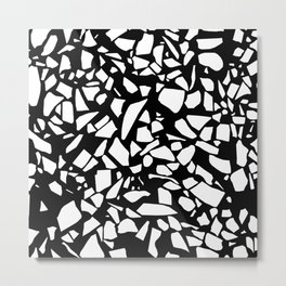 Terrazzo White on Black Metal Print