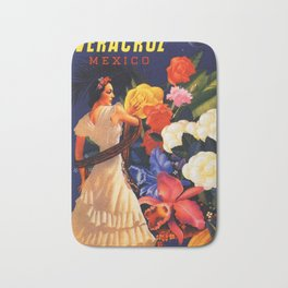 Veracruz Travel Poster Bath Mat