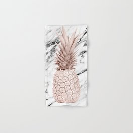 Rose Gold Pineapple on Black and White Marble Hand & Bath Towel