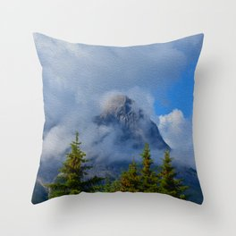 Ha Ling Mountain Peak, Canmore, Canada Throw Pillow