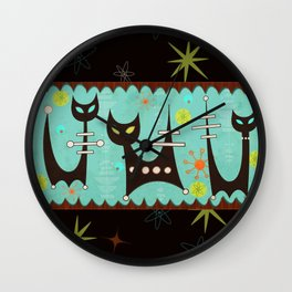 Atomic Cats Wall Clock