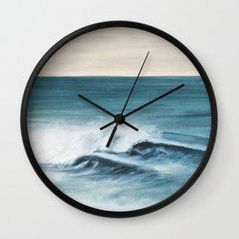 Surfing big waves Wall Clock