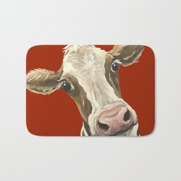 Cute Cow Painting, Red Cow Painting Bath Mat