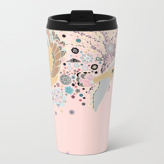 Pink Woods Metal Travel Mug