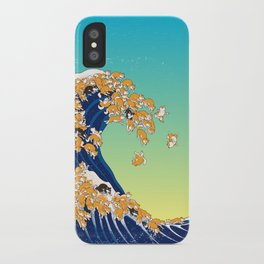 Shiba Inu in Great Wave iPhone Case