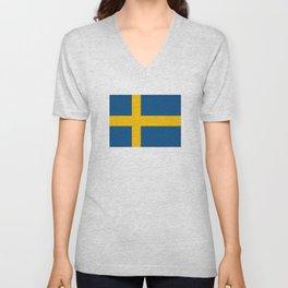 flag of sweden Unisex V-Neck