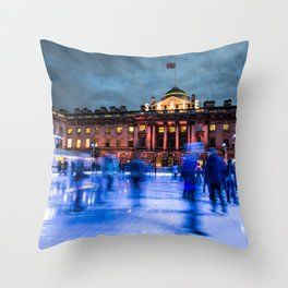 Ice Skating At Somerset House, London Throw Pillow