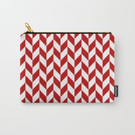 Red and White Herringbone Pattern Carry-All Pouch