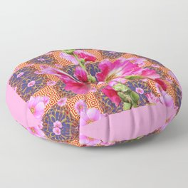 Fuchsia Purple Holly Hocks Pattern Grey Flora Art Floor Pillow