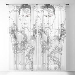 Dragon Tattoo Guy Sheer Curtain