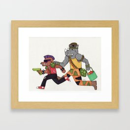 Bebop and Rocksteady Water Fight Framed Art Print