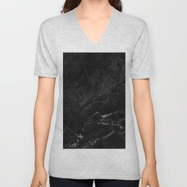 Black marble with detail structure close up view. Unisex V-Neck