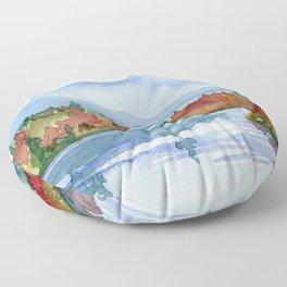 Mirror Lake in Autumn Floor Pillow