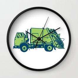Garbage Truck Rear End Loader Side Woodcut Wall Clock