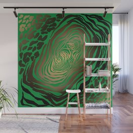 Trendy Golden and green zebra print  Wall Mural