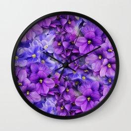 Violets in my garden, digital flower print Wall Clock