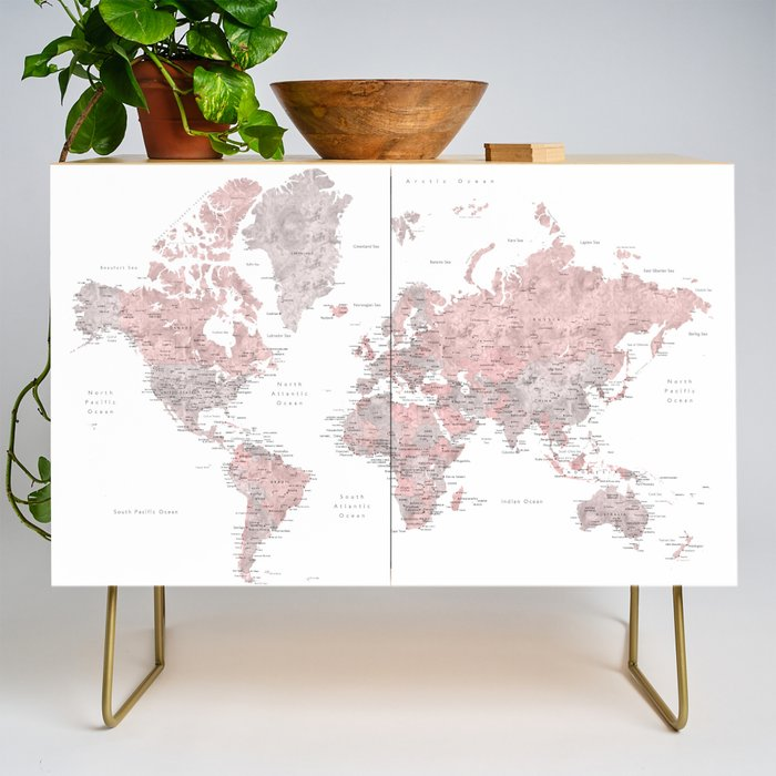 Dusty pink and grey detailed watercolor world map Credenza