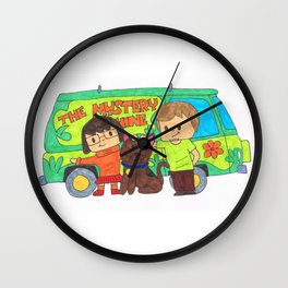 Sleuth Couple and Dog Wall Clock