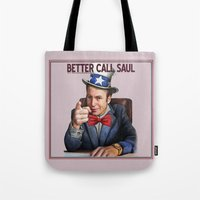 better call saul Tote Bags featuring Better Call Saul by Magdalena Almero