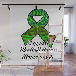 Support Traumatic Brain Injury Awareness Ribbon Wall Mural