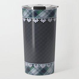 Blue plaid, plaid blanket, gray pattern, patchwork, folklore,  rustic style, elegant pattern, plaid Travel Mug