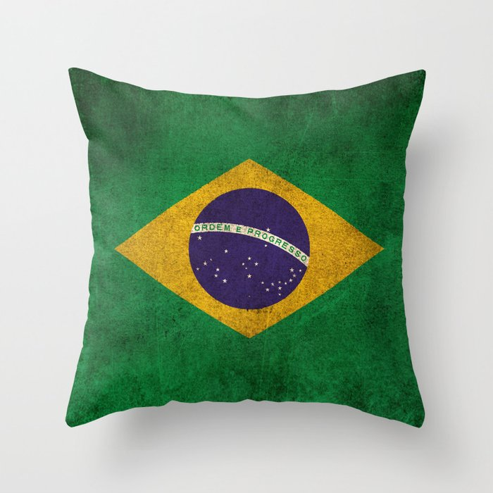 Old and Worn Distressed Vintage Flag of Brazil Throw Pillow