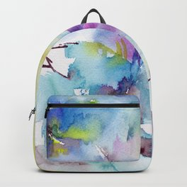 Blue abstract pattern. Abstract flowers. Backpack