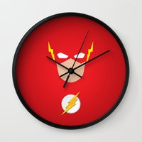 the flash Wall Clocks featuring FLASH by Roboz