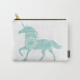 Teal Unicorn Circle Art Carry-All Pouch