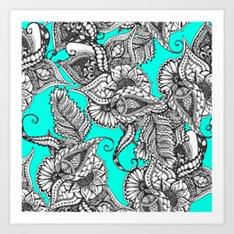 Boho black white hand drawn floral doodles pattern turquoise Art Print
