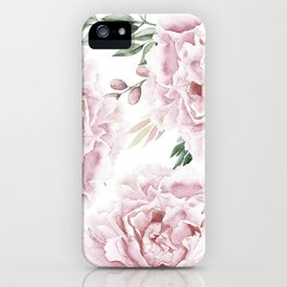 Girly Pastel Pink Roses Garden iPhone Case