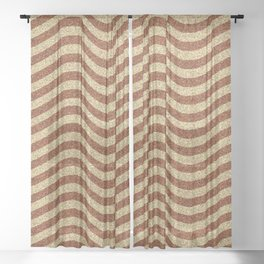 Curving Brown Grainy Pattern Sheer Curtain