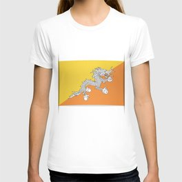 Flag of Bhutan.  The slit in the paper with shadows. T-shirt