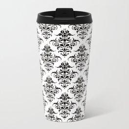 Damask Pattern | Black and White Metal Travel Mug