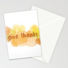 Give Thanks Autumn Pumpkin Leaves Stationery Cards