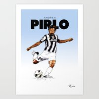 pirlo Art Prints featuring Andrea Pirlo (no emblem) by Rudi Gundersen