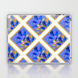 PATTERNED MODERN ABSTRACT BLUE & GOLD CALLA LILIES Laptop & iPad Skin