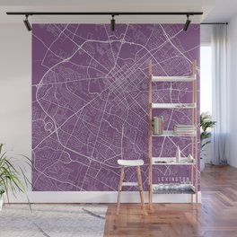 Lexington Map, USA - Purple Wall Mural