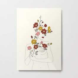 Colorful Thoughts Minimal Line Art Woman with Wild Roses Metal Print