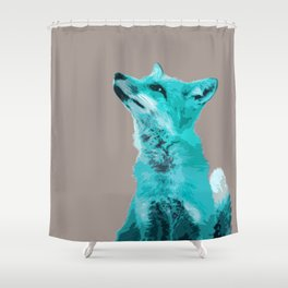 FOX, BLUE FOX, FOX, BLUE FOX, FOX FACE, FOX IN BLUE, WINTER FOX, LITTLE FOX, FOX IN SNOW Shower Curtain