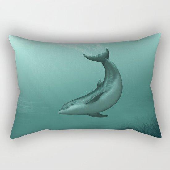 """Siren of the Lagoon"" by Amber Marine ~ Indian River Lagoon Bottlenose Dolphin Art, (c) 2015 Rectangular Pillow"