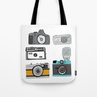 cameras Tote Bags featuring Cameras by Josh Ross