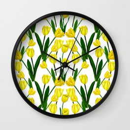 Tulip_Netherlands_Yellow Tulip drawing Wall Clock