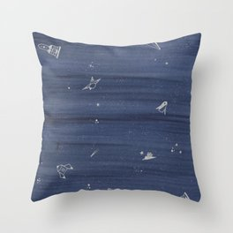 blue space Throw Pillow