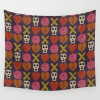 cross Wall Tapestries featuring cross stitch cross love by Sharon Turner