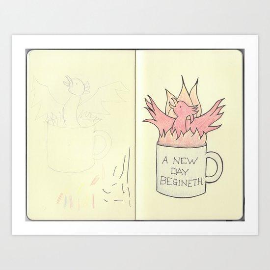 Coffee Phoenix Sketchbook Page Art Print